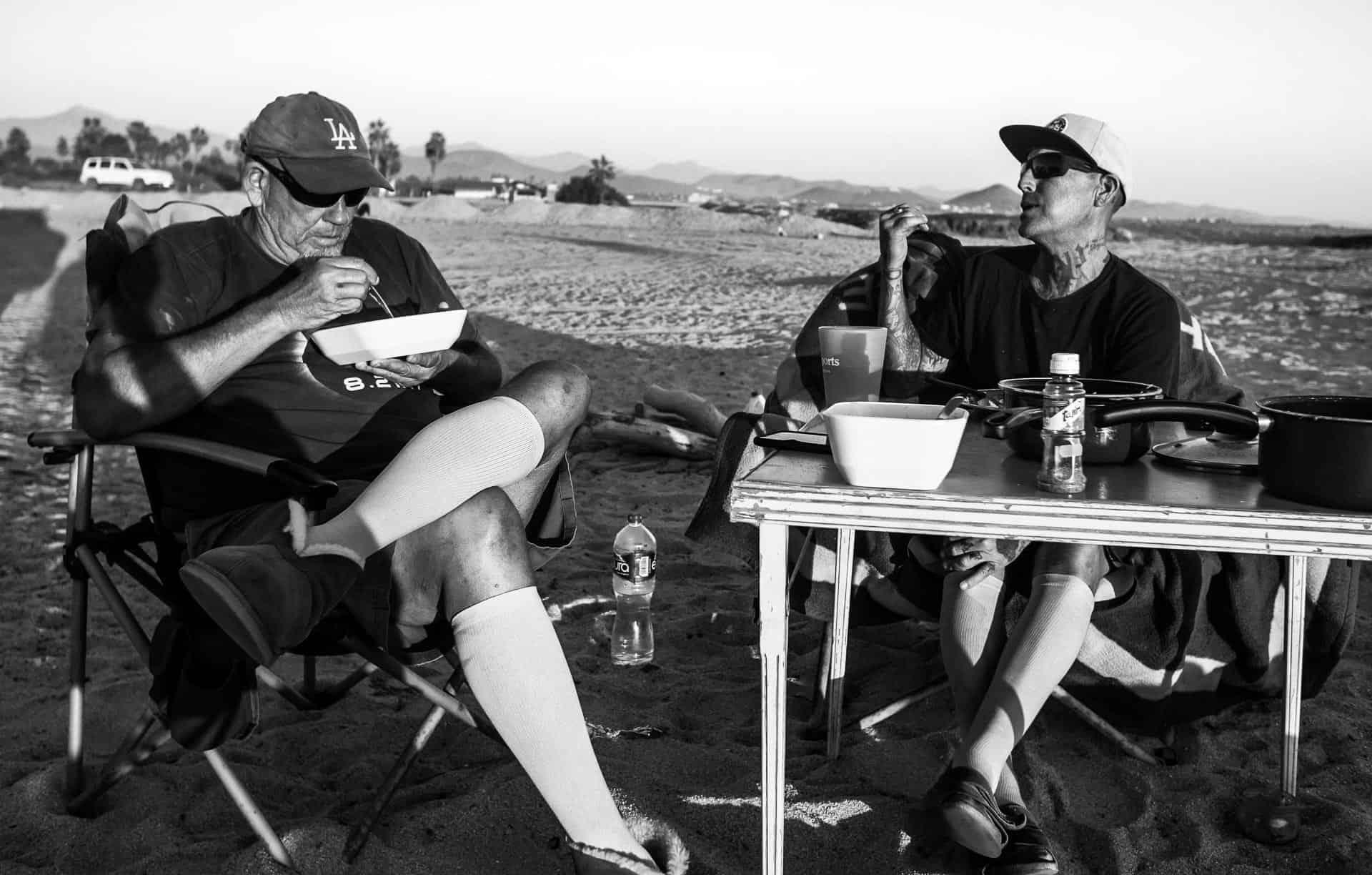 San Pedrito Beach El Pescadero camping dinnertime